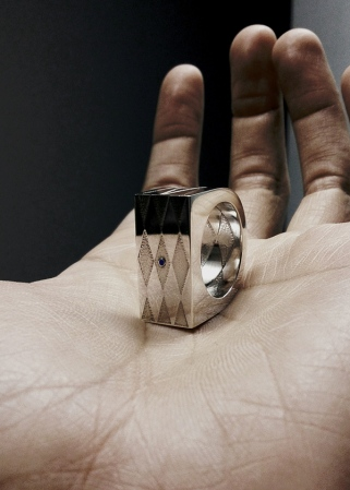 'Jester', 2014 sterling silver, sapphire commissioned ring