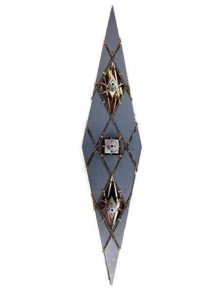 Ambitious Soul chandelier 125 x 45 x 40 cm brass, steel, Plexiglass, polyurethane resin, mirror, cut crystal