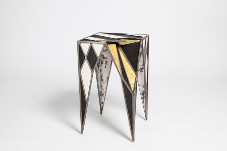 Side table 30 x 30 x 50 cm steel, resin, nickel silver, 23k gold