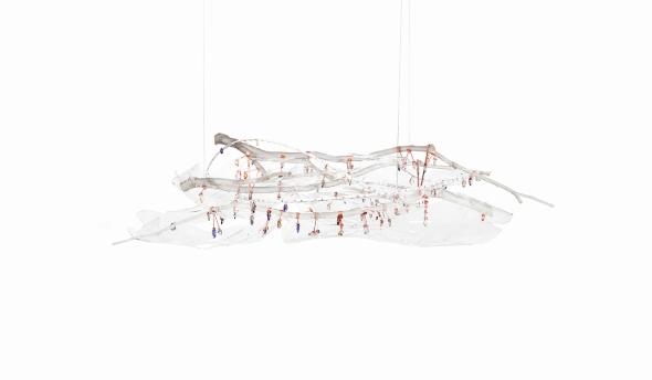 chandelier 130 x 50 x 50 cm Plexiglass, copper, polyurethane resin, cut crystals