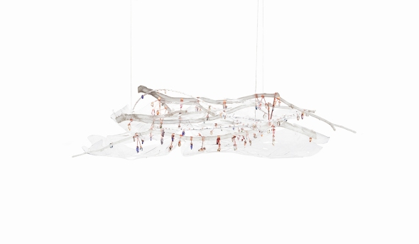 chandelier 130 x 50 x 50 cm Plexiglass, copper, polyurethane resin, cut crystals