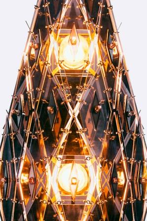 chandelier 100 x 40 x 32 cm copper, stainless steel, resin, Plexiglas, cut crystals